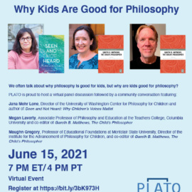 Virtual Event: Why Kids Are Good for Philosophy